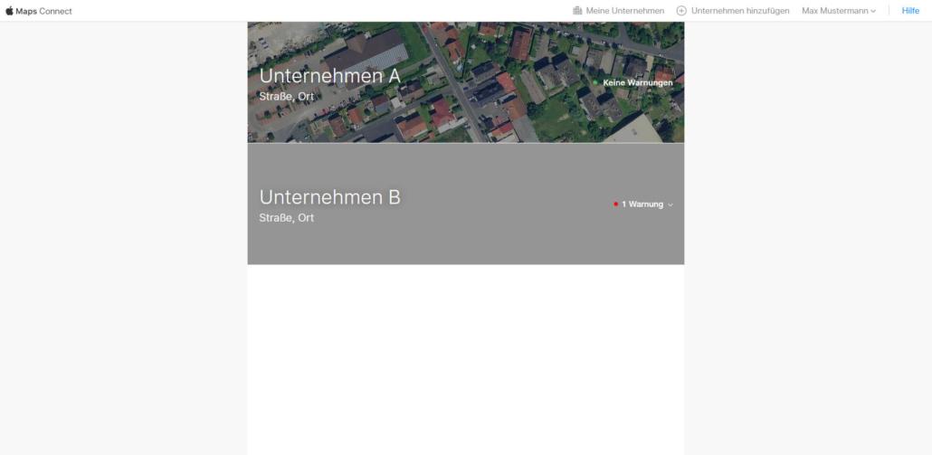 Übersicht der eingetragenen Unternehmen bei Apple Maps