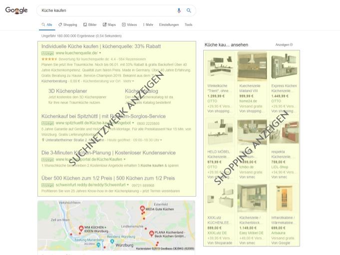 Google Suchnetzwerk + Shopping Ads Beispiel
