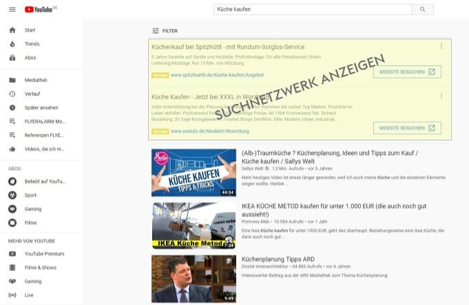 Google YouTube Suchnetzwerk Ads