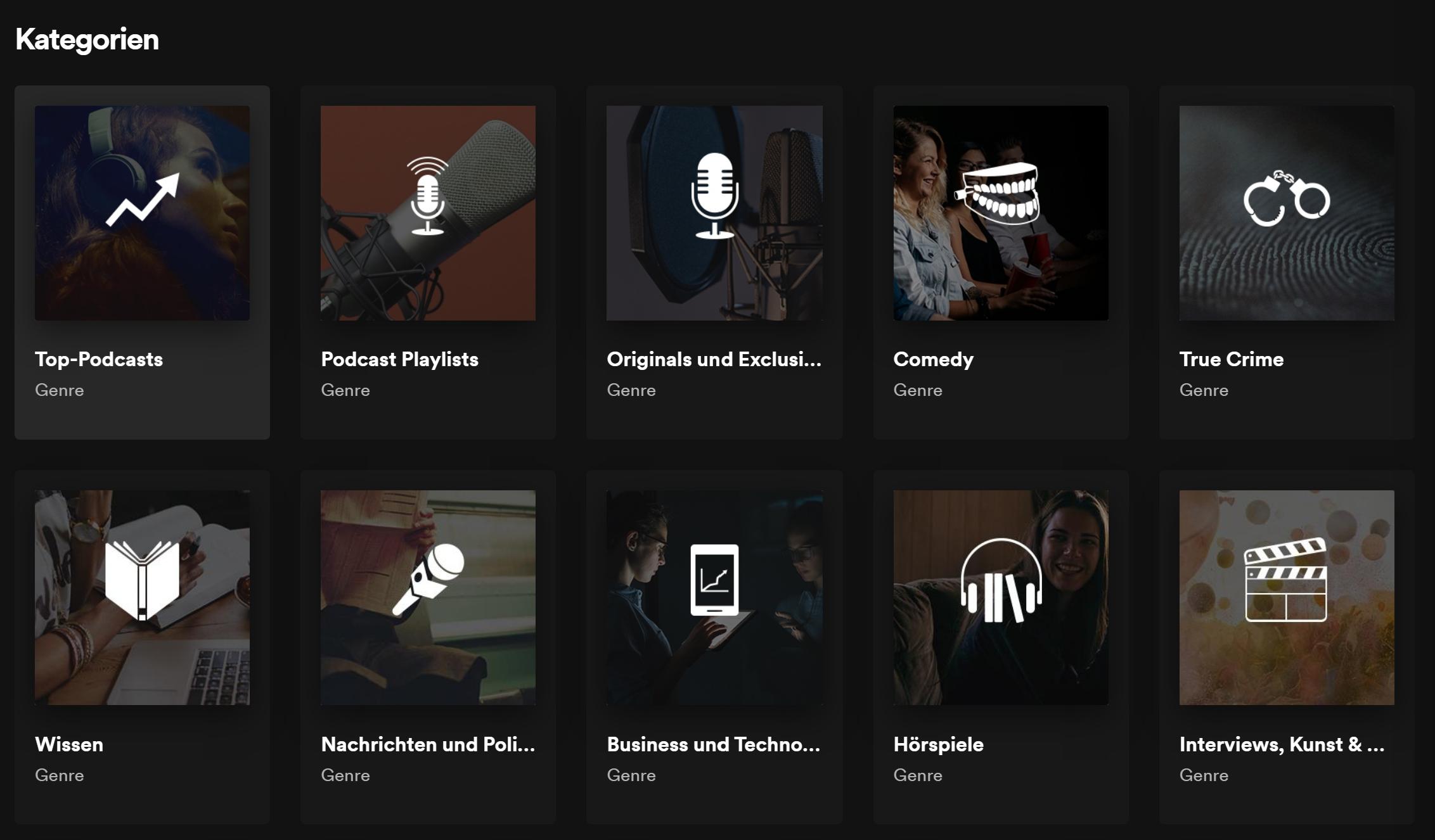 Spotify Podcast Kategorien