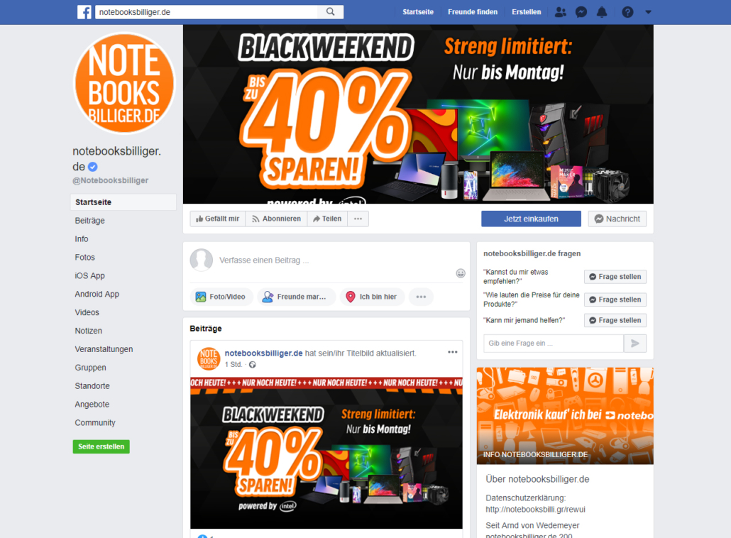 Facebook Black Weekend Notebooksbilliger