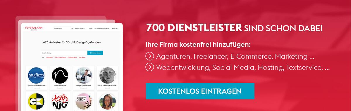 FLYERALARM Creatives Agenturverzeichnis - Firmeneintrag erstellen