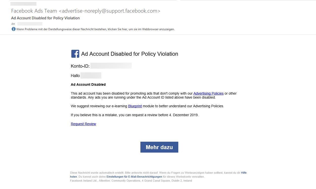 Facebook Ads gesperrt