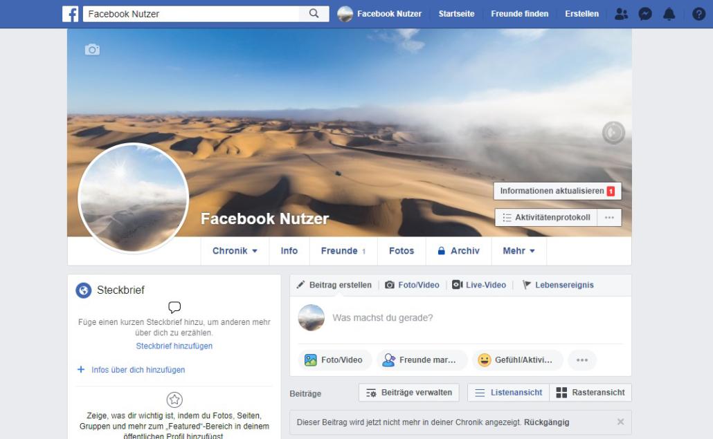 Aktuelle Bildgröße für Titelgrafik und Profilfoto auf Facebook