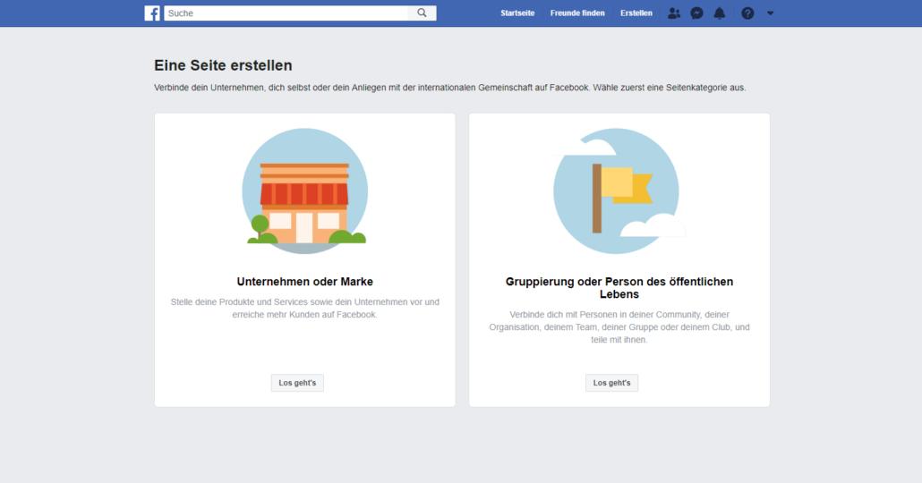 Facebook Seite für Unternehmen erstellen - Schritt 1