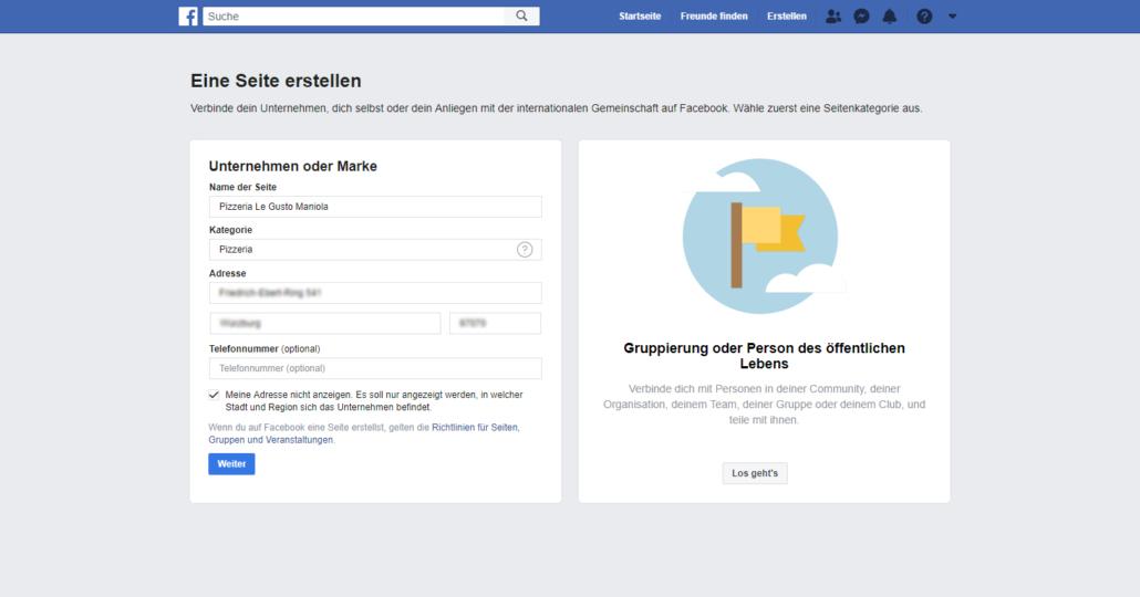 Firmeneintrag bei Facebook anlegen