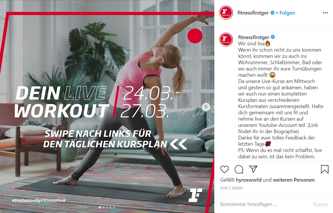 Fitness First Kurse Instagram