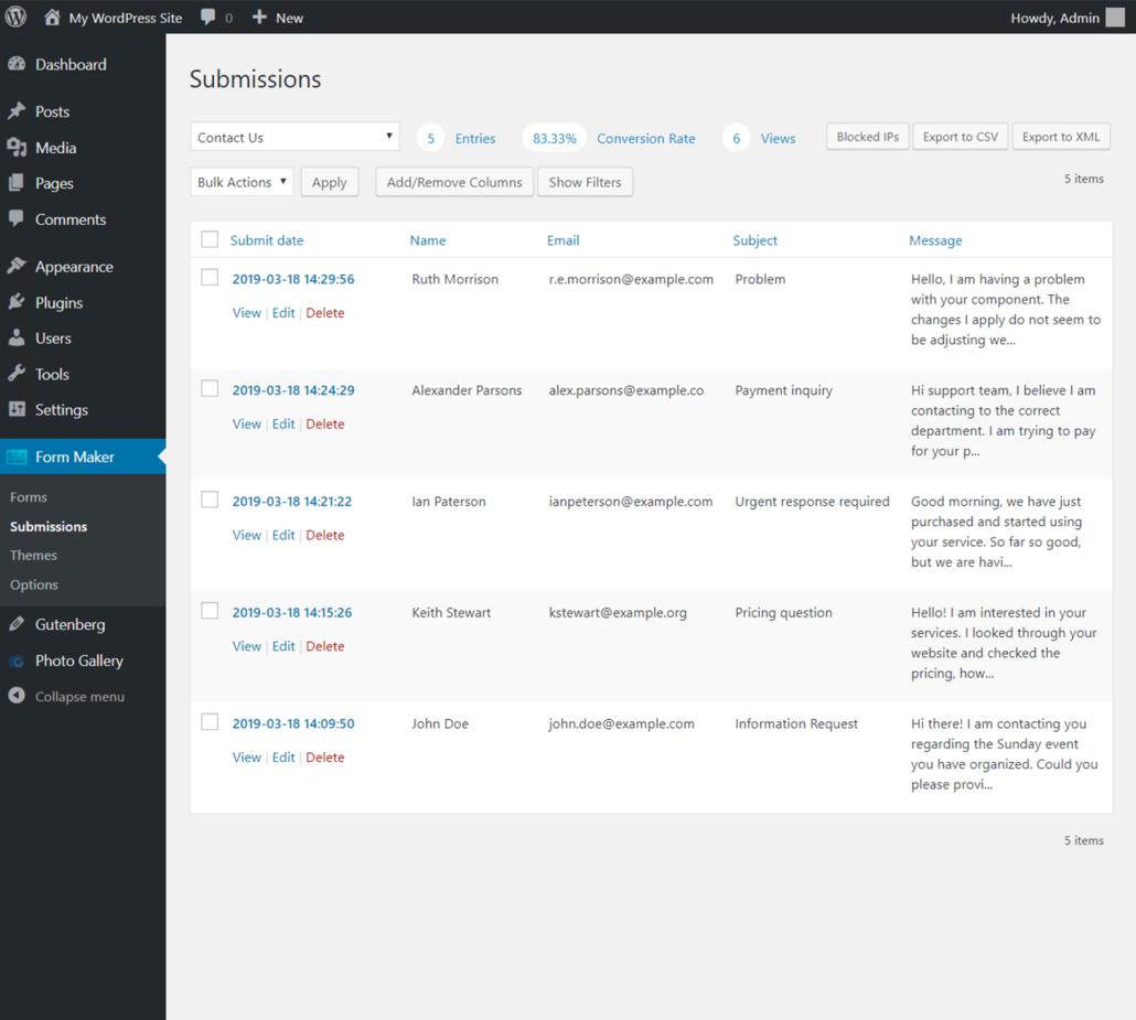 Form Maker für WordPress