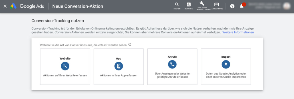 Conversion Aktion erstellen