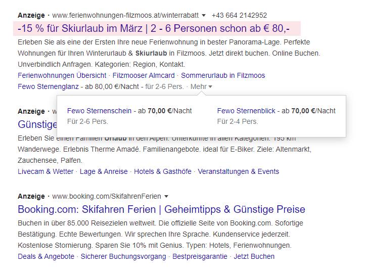 Google Ads Sonderzeichen Beispiel