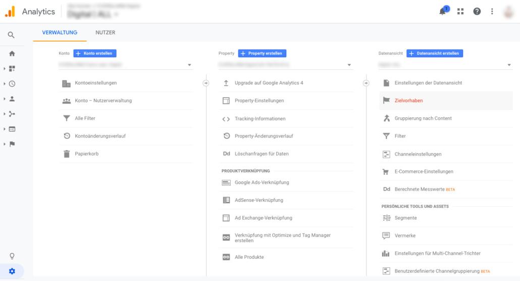 Zielvorhaben in Google Analytics erstellen