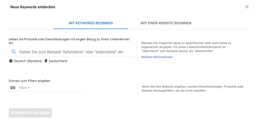 Google Keyword Planer einrichten