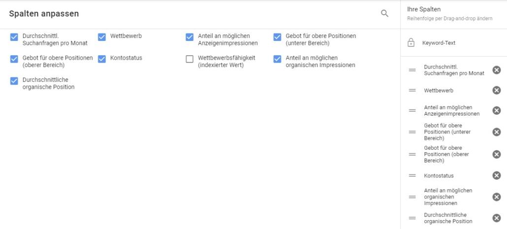 Google Keyword-Planner Spalten
