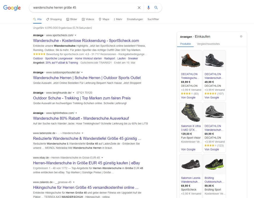 Google Shopping in der Suche