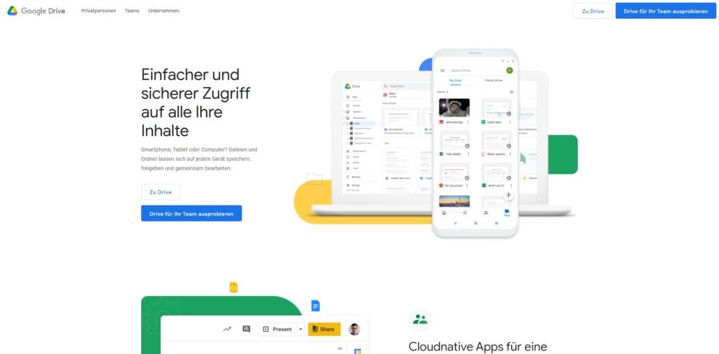 Google Drive - Online Cloud Speicherplatz