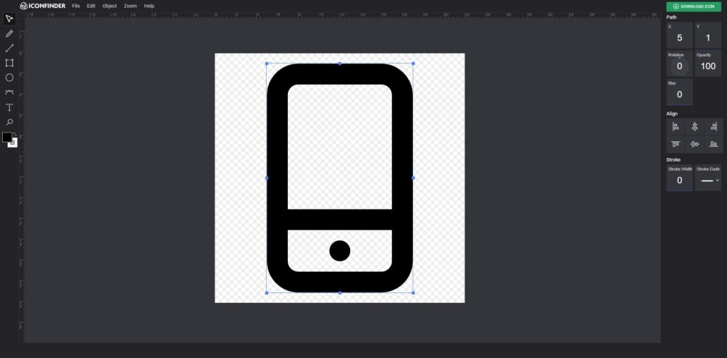 Iconfinder Online Icon-Editor