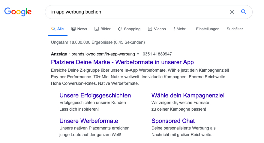 In-App-Werbung buchen über Google