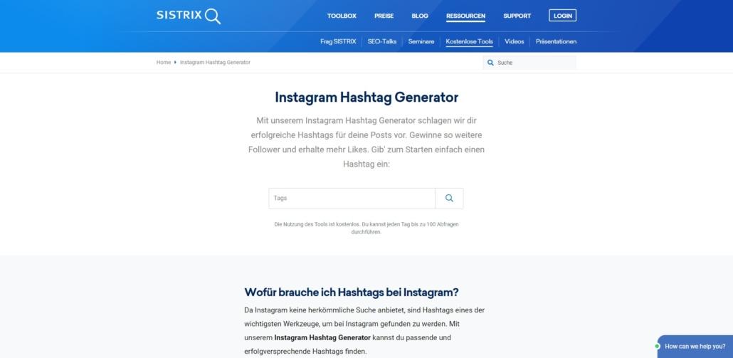 Instagram Hashtags App Suche