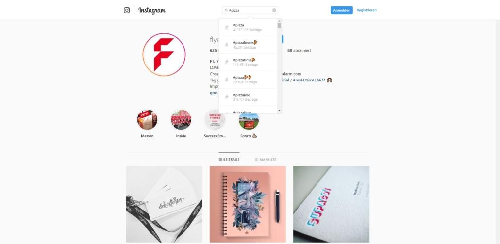 Hashtags recherchieren bei Instagram online