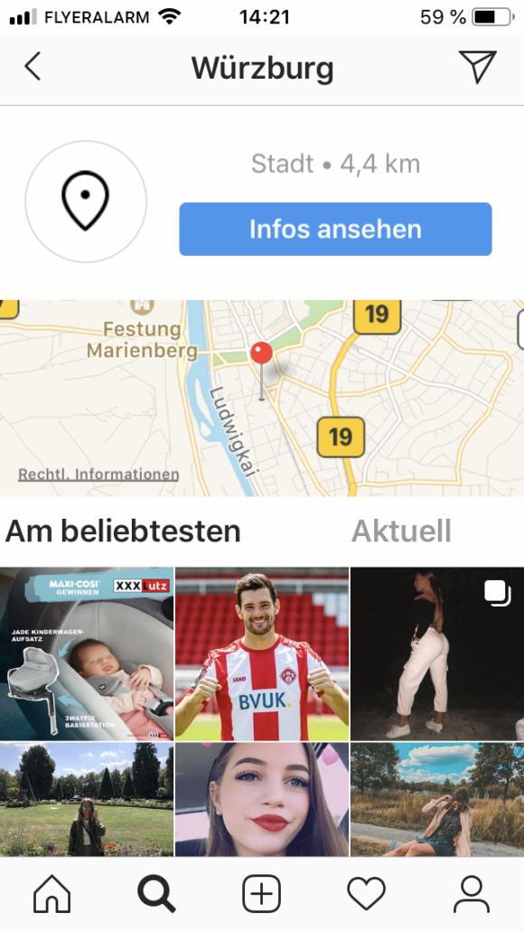 Instagram Standort markieren