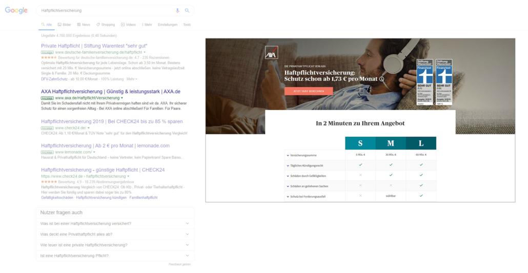 Nutzerintention Suchanfrage und Landingpage