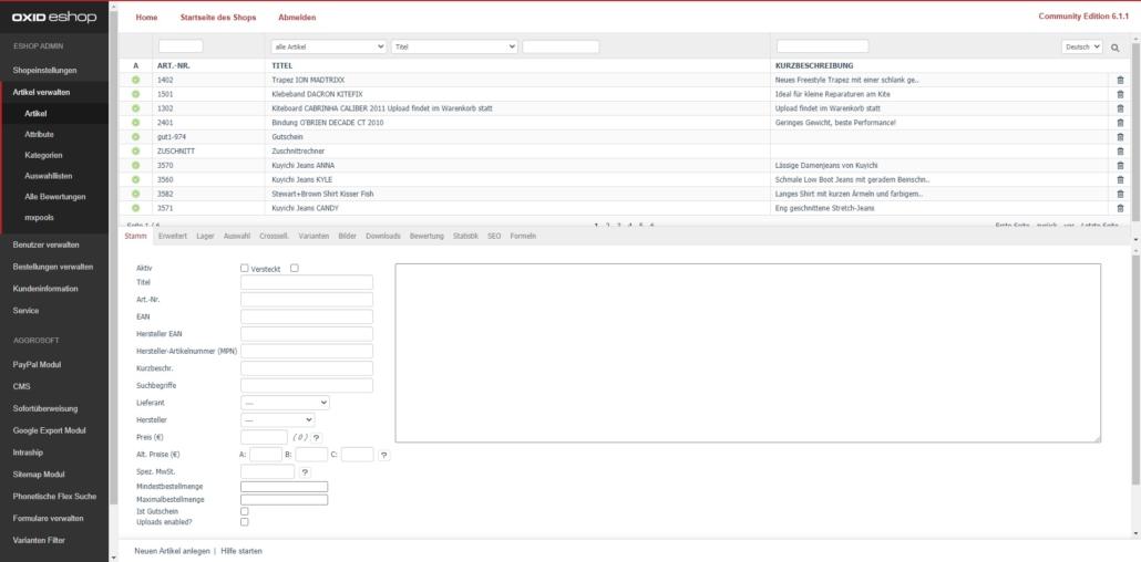 Demoshop mit OXID Community Edition - Backend