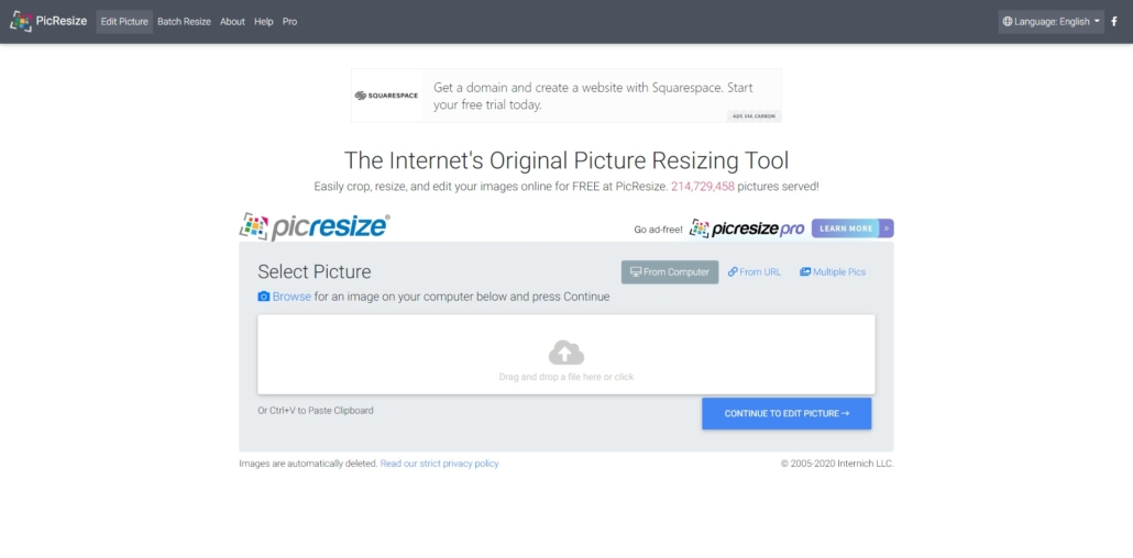 PicResize Online Image Crop
