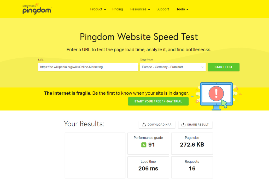 PageSpeed Test bei Pingdom