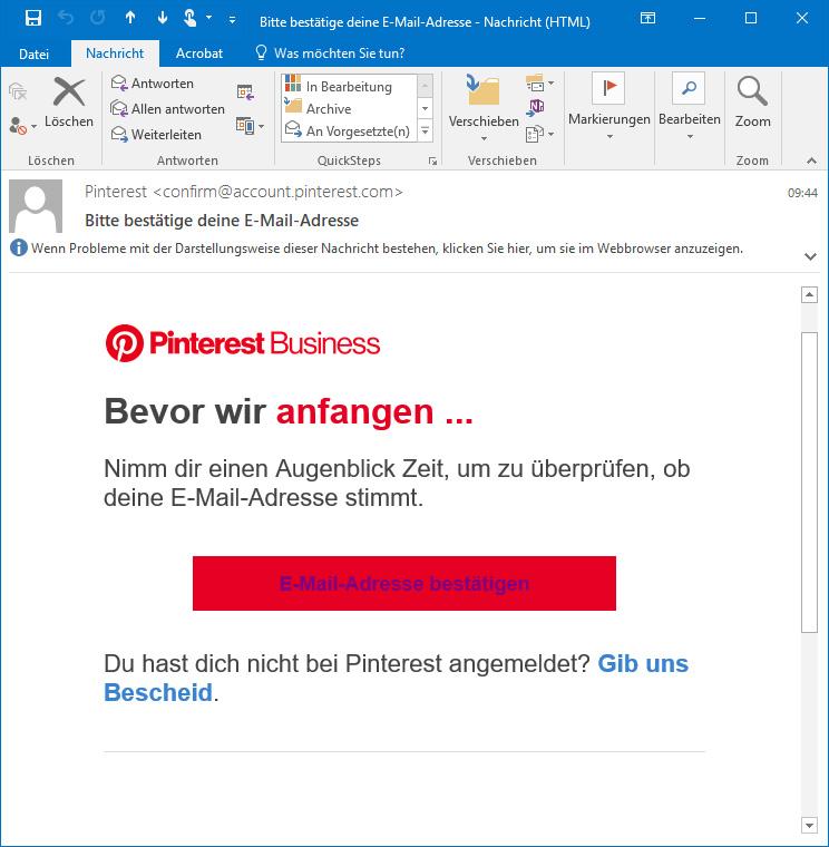 Pinterest E-Mail Adresse validieren
