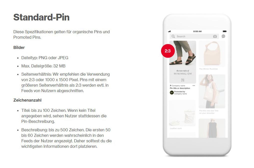 Pinterest Anzeigen schalten: Standard Pin Format