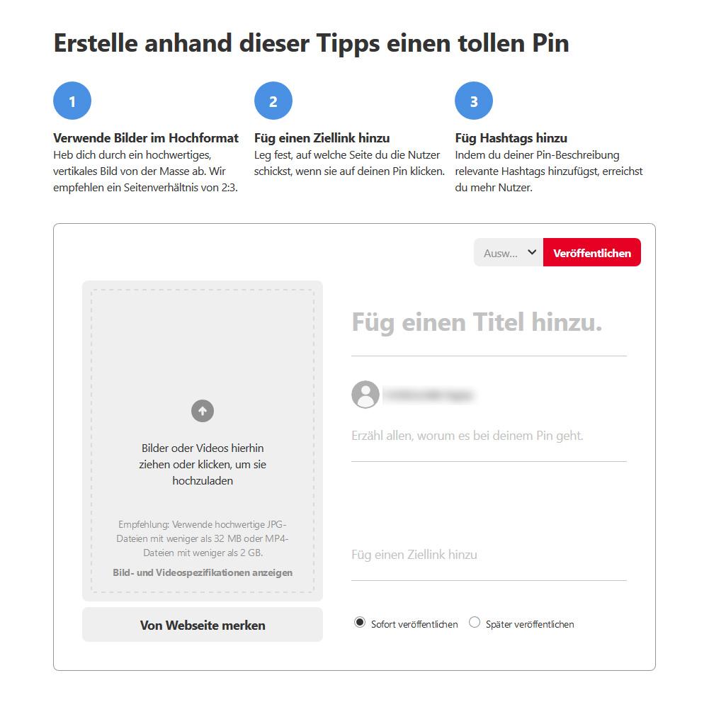 Aufbau eines Pinterest Pins