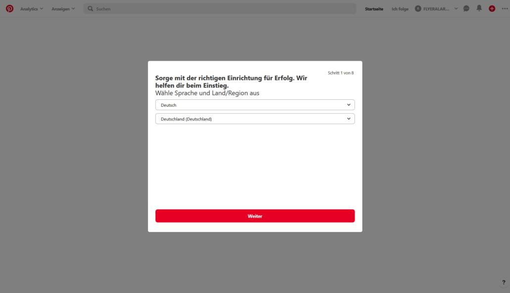 Pinterest Business Account erstellen: Schritt 2