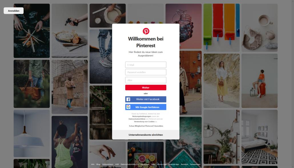 Unternehmenskonto erstellen bei Pinterest
