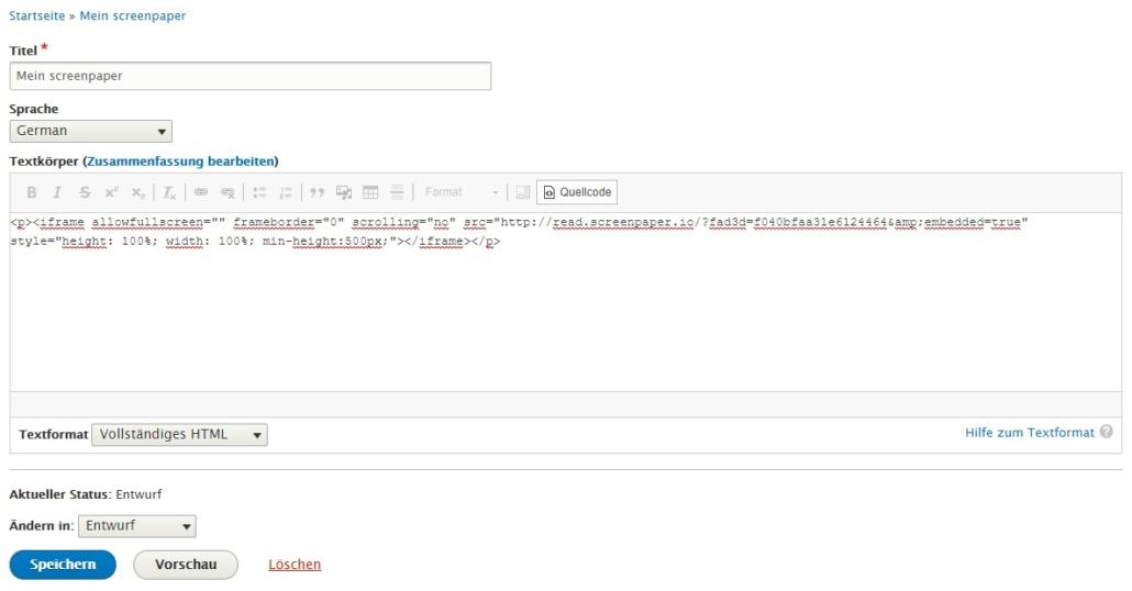 screenpaper in Drupal einbinden - Code einfügen im Quellcode-Modus
