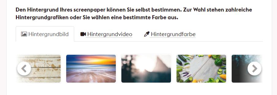 screenpaper Hintergrund wählen