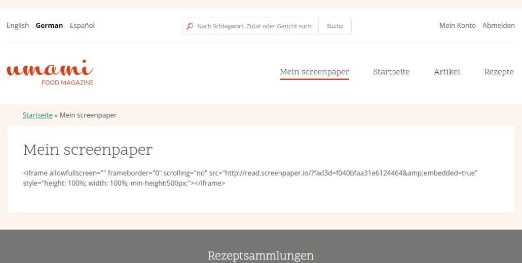 HTML-Code Fehler bei screenpaper