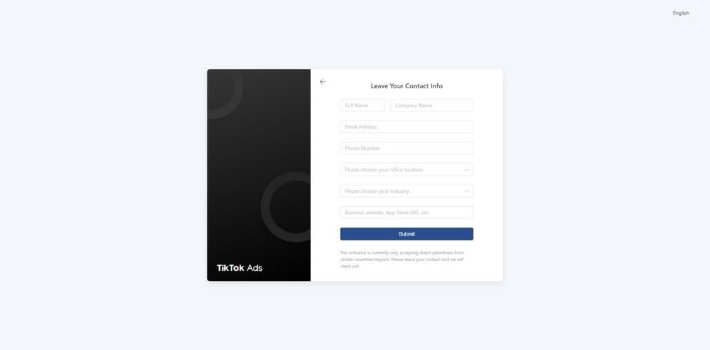 TikTok Ads Registrierung