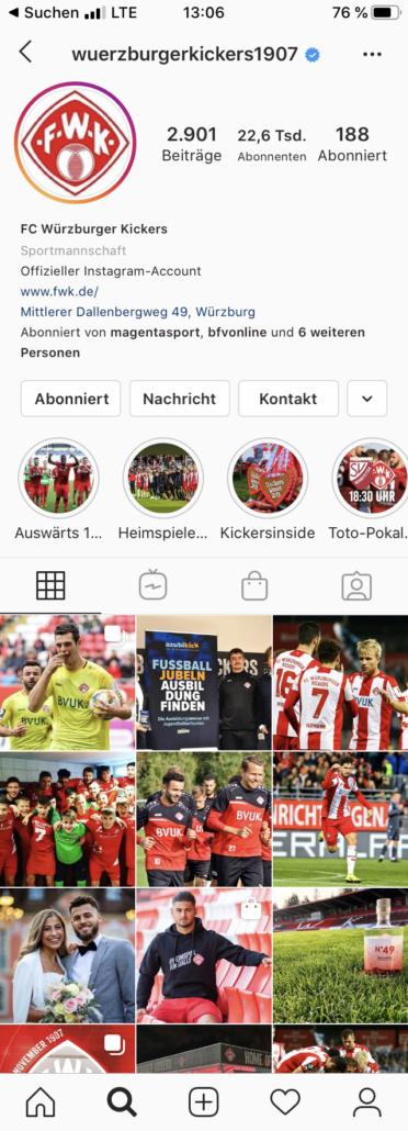 Instagram Vereinsprofil Beispiel