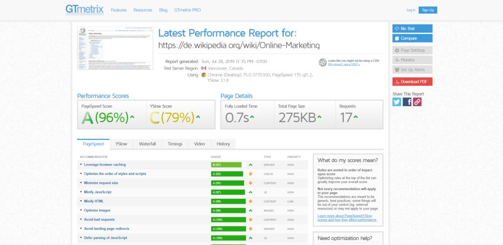 Website-Geschwindigkeit testen mit GTmetrix